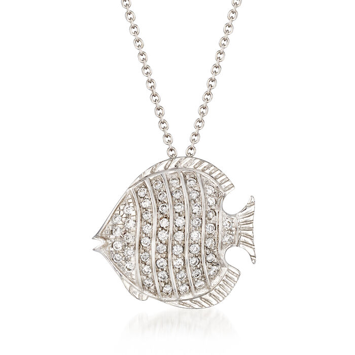 "Roberto Coin ""Tiny Treasures"" .25 ct. t.w. Diamond Fish Necklace in 18kt White Gold. 16"", , default"