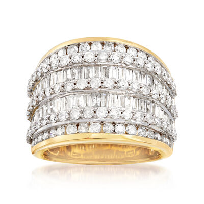 3.00 ct. t.w. Baguette and Round Diamond Multi-Row Ring in 18kt Gold Over Sterling, , default