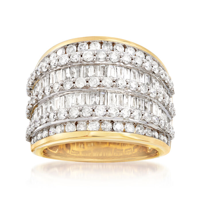 3.00 ct. t.w. Baguette and Round Diamond Multi-Row Ring in 18kt Gold Over Sterling