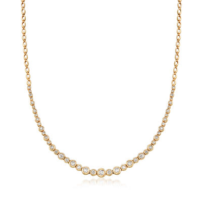 2.00 ct. t.w. Graduated Bezel-Set Diamond Necklace in 14kt Yellow Gold, , default