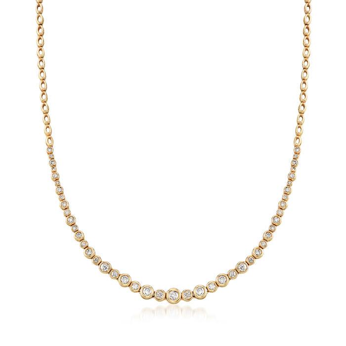 2.00 ct. t.w. Graduated Bezel-Set Diamond Necklace in 14kt Yellow Gold, , default