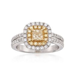 1.36 ct. t.w. Fancy Yellow and White Diamond Engagement Ring in 18kt Two-Tone Gold, , default