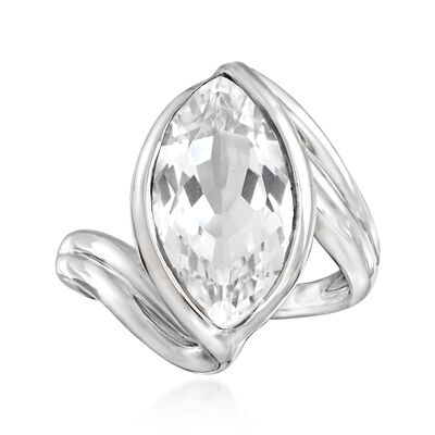 5.75 Carat Rock Crystal Bypass Ring in Sterling Silver, , default