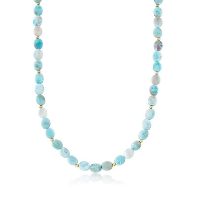 Larimar Bead Necklace in 14kt Yellow Gold with Magnetic Clasp