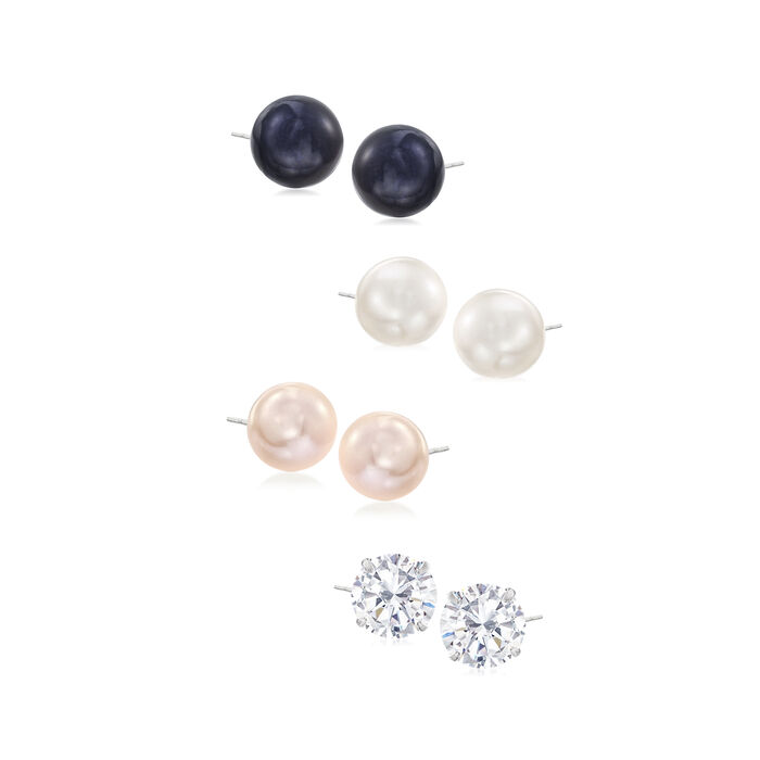 9-9.5mm Multicolored Cultured Pearl and 3.80 ct. t.w. CZ Jewelry Set: Four Pairs of Stud Earrings in Sterling Silver, , default