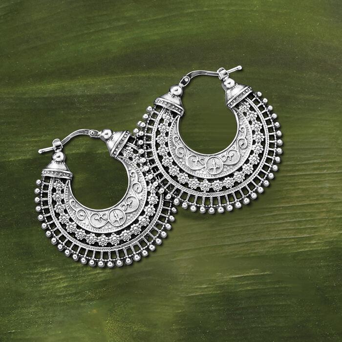 Italian Sterling Silver Embellished Hoop Earrings