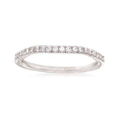 Gabriel Designs .15 ct. t.w. Diamond Curved Wedding Ring in 14kt White Gold, , default