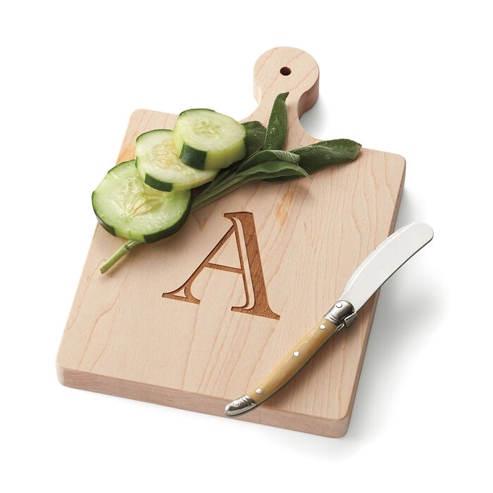 Single Initial Maple Wood Cheeseboard with Spreader, , default