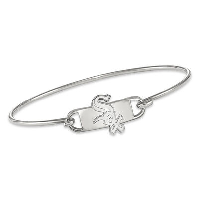 """Sterling Silver MLB Chicago White Sox Small Center Wire Bangle Bracelet. 7"""", , default"""