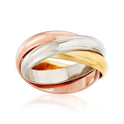C. 1990 Vintage Cartier 18kt Tri-Colored Gold Trinity Ring, , default