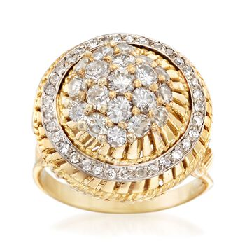 C. 1980 Vintage 1.85 ct. t.w. Diamond Cluster Ring in 18kt Yellow Gold. Size 8, , default