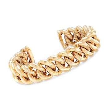 "Italian 14kt Yellow Gold Curb-Link Cuff Bracelet. 7.5"", , default"