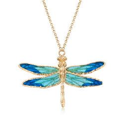 "Italian Blue Tonal Enamel Dragonfly Necklace in 18kt Yellow Gold. 14.5"", , default"