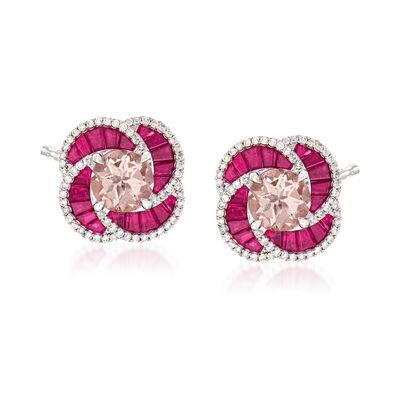 2.40 ct. t.w. Morganite and 1.90 ct. t.w. Ruby and .45 ct. t.w. Diamond Earrings in 14kt White Gold, , default