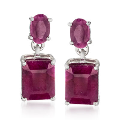6.55 ct. t.w. Opaque Ruby Drop Earrings in Sterling Silver, , default