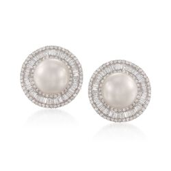 13.5mm Cultured South Sea Pearl and 4.25 ct. t.w. Diamond Earrings in 18kt White Gold, , default