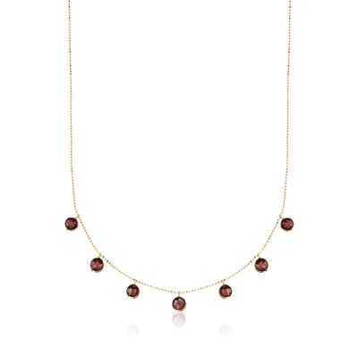 5.75 ct. t.w. Garnet Station Necklace in 14kt Yellow Gold, , default