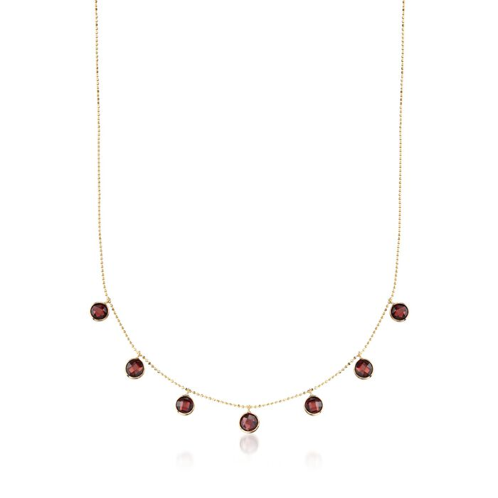 """5.75 ct. t.w. Garnet Station Necklace in 14kt Yellow Gold. 16"""", , default"""