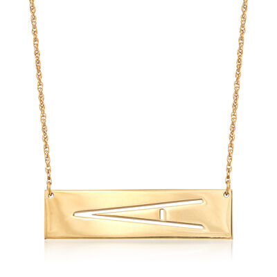 Cut-Out Initial Bar Necklace in 18kt Yellow Gold Over Sterling