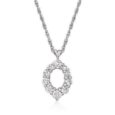 C. 1990 Vintage 1.03 ct. t.w. Diamond Open-Circle Pendant Necklace in Platinum