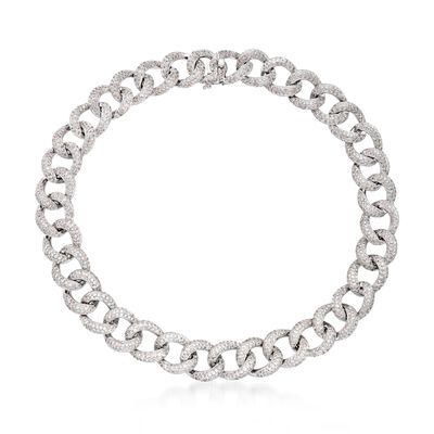 31.50 ct. t.w. Pave Diamond Large Link Collar Necklace in 18kt White Gold, , default