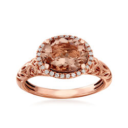 2.00 Carat Morganite and .10 ct. t.w. Diamond Ring in 14kt Rose Gold, , default
