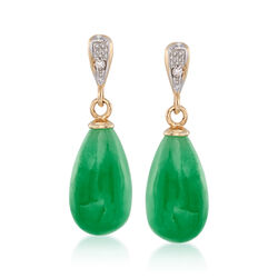 Jade Teardrop Earrings With Diamond Accents in 14kt Yellow Gold, , default