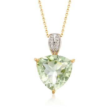 7.50 Carat Green Amethyst and .10 ct. t.w. White Topaz Pendant Necklace in 18kt Gold Over Sterling, , default
