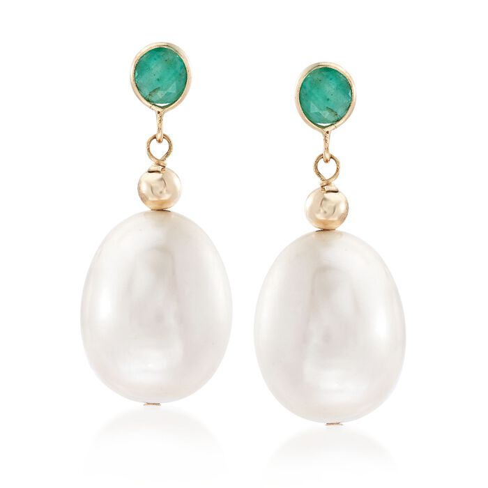 9.5-10.5mm Cultured Pearl and .60 ct. t.w. Emerald Earrings in 14kt Yellow Gold , , default