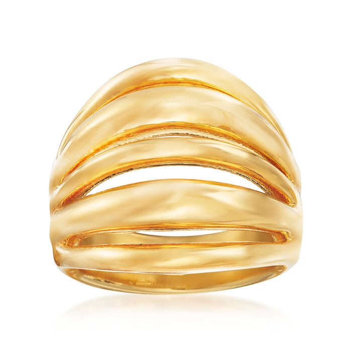 Italian Andiamo 14kt Yellow Gold Multi-Row Open-Space Ring, , default