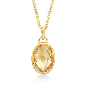 5.00 Carat Oval Citrine Pendant Necklace in 18kt Gold Over Sterling, , default