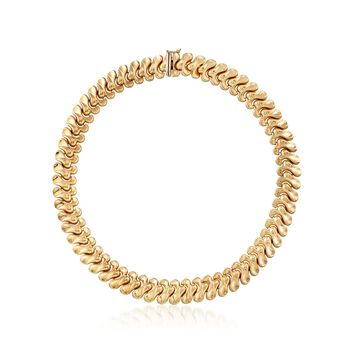 "C. 1970 Vintage 14kt Yellow Gold Collar Necklace. 16"", , default"
