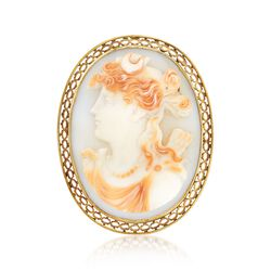 C. 1950 Vintage 40x30 Shell Cameo Pin in 14kt Yellow Gold , , default