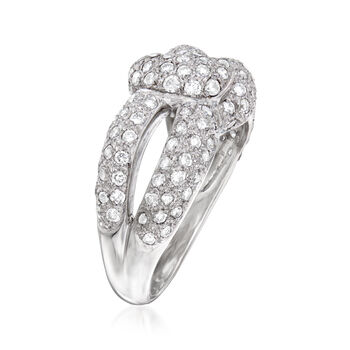 C. 1990 Vintage 1.25 ct. t.w. Pave Diamond Knot Ring in 14k White Gold. Size 5