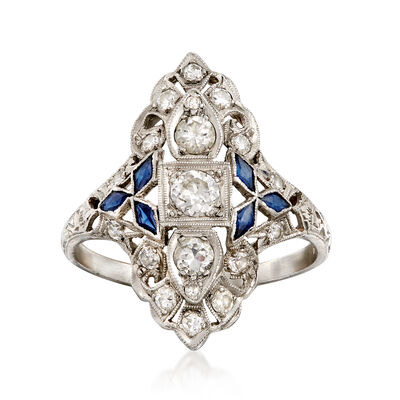 C. 1980 Vintage .75 ct. t.w. Diamond and .25 ct. t.w. Synthetic Sapphire Dinner Ring in Platinum, , default