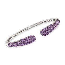 8.10 ct. t.w. Pave Amethyst Cuff Bracelet in Sterling Silver, , default