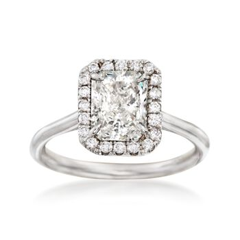 1.78 ct. t.w. Diamond Halo Engagement Ring in 18kt White Gold, , default