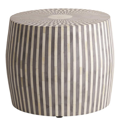 Drum-Shaped Gray and White Side Table/Stool, , default