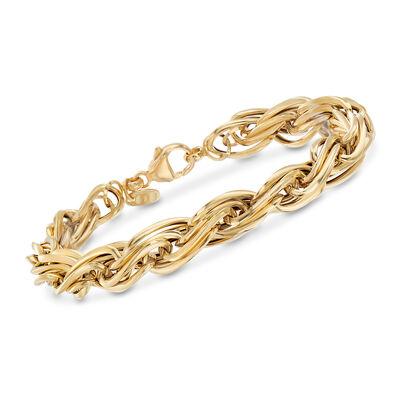 Italian 18kt Yellow Gold Twisted-Link Bracelet, , default
