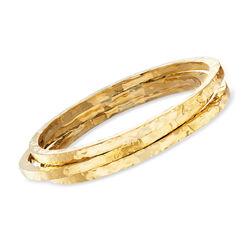 Italian 24kt Gold Over Sterling Silver Jewelry Set: Three Hammered Bangle Bracelets, , default