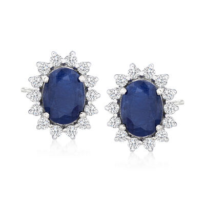 2.20 ct. t.w. Sapphire and .36 ct. t.w. Diamond Earrings in 14kt White Gold