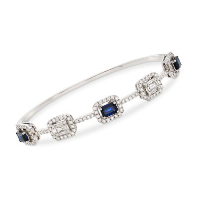2.30 ct. t.w. Sapphire and 1.72 ct. t.w. Diamond Bangle Bracelet in 18kt White Gold, , default
