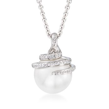 "Mikimoto 11m A+ South Sea Pearl Swirl Pendant Necklace With .37 ct. t.w. Diamonds in 18kt White Gold. 16"", , default"