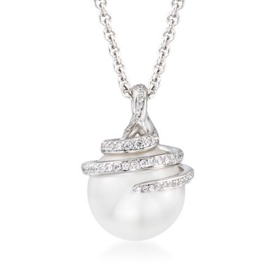 Mikimoto 11m A+ South Sea Pearl Swirl Pendant Necklace with .37 ct. t.w. Diamonds in 18kt White Gold, , default
