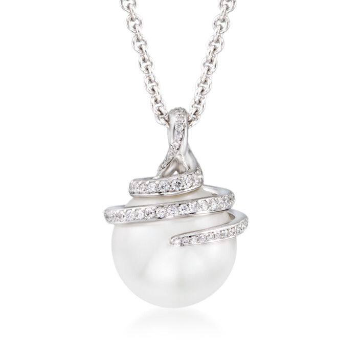 """Mikimoto 11m A+ South Sea Pearl Swirl Pendant Necklace with .37 ct. t.w. Diamonds in 18kt White Gold. 16"""", , default"""