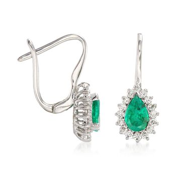 .80 ct. t.w. Emerald and .28 ct. t.w. Diamond Drop Earrings in 14kt White Gold, , default