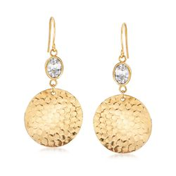 2.50 ct. t.w. CZ Disc Drop Earrings in 18kt Gold Over Sterling Silver, , default