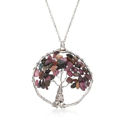 14.00 ct. t.w. Multicolored Tourmaline Tree of Life Pendant Necklace in Sterling Silver