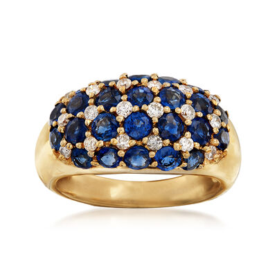 C. 1990 Vintage 2.80 ct. t.w. Sapphire and .32 ct. t.w. Diamond Multi-Row Ring in 18kt Yellow Gold, , default