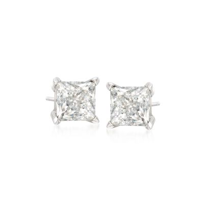 1.00 ct. t.w. Princess-Cut Diamond Stud Earrings in 14kt White Gold, , default